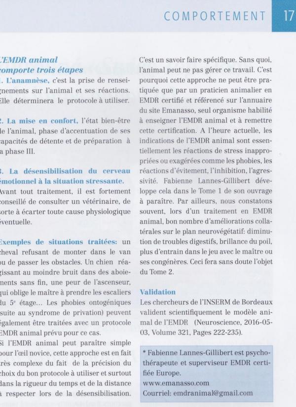 Article emdr animal en suisse 2 suite